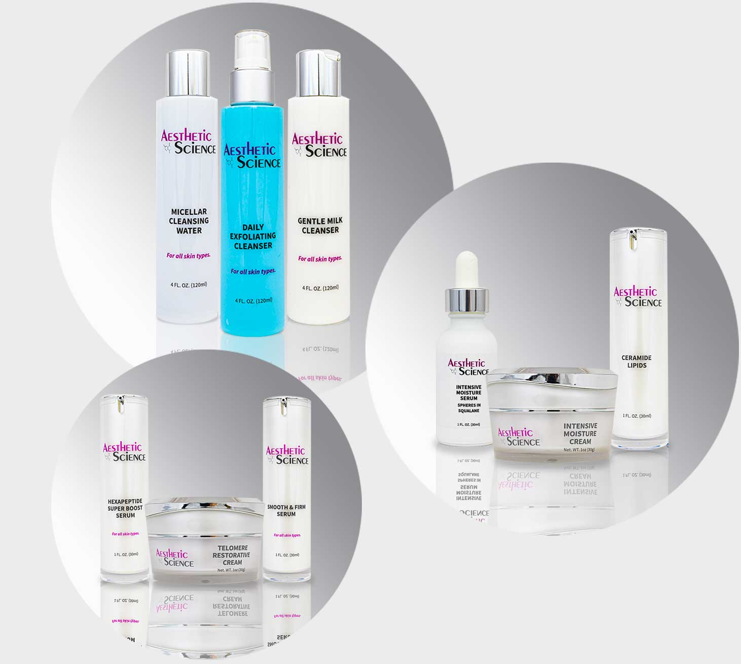 Aesthetic Science Skincare's assorted products from their professional skincare product line